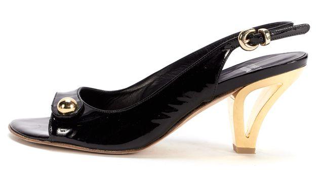 STUART WEITZMAN Black Patent Leather Gold Heel Sling Back Sandal