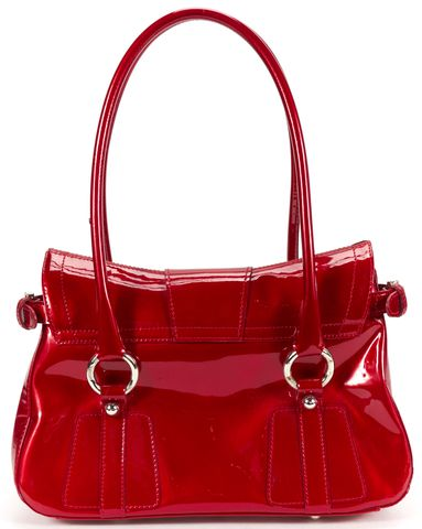 STUART WEITZMAN Authentic Ruby Red Patent Leather Top Handle Shoulder Bag