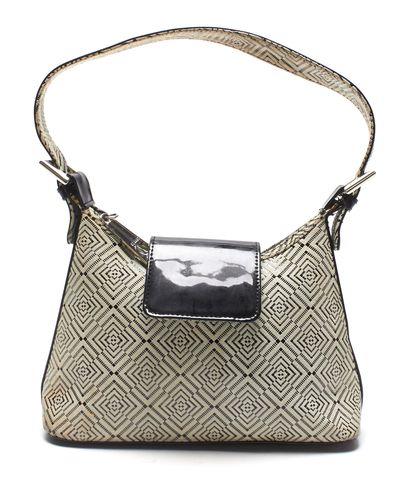 STUART WEITZMAN Authentic White Black Leather Shoulder Bag