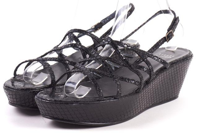 STUART WEITZMAN Black Snake Embossed Leather Platform Sandals