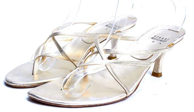 STUART WEITZMAN Gold Leather Strappy Sandal Low Heels