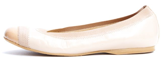 STUART WEITZMAN Nude Leather Patent Toe Ballet Flat