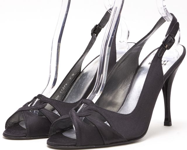 STUART WEITZMAN Black Satin Open Toe Sling Back Heel Sandals