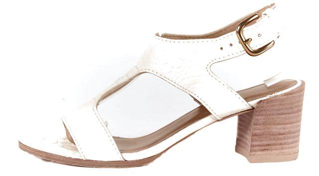 STUART WEITZMAN White Snake Embossed Leather Wooden Low Heels Sandal