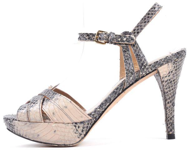 STUART WEITZMAN Beige Gray Snake Embossed Leather Platform Heel Sandals