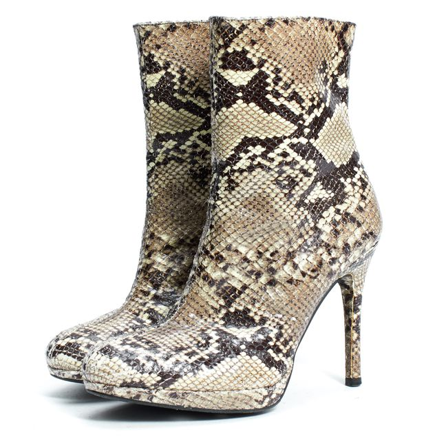 STUART WEITZMAN Ivory Brown Snake Embossed Leather Platform Ankle Boots
