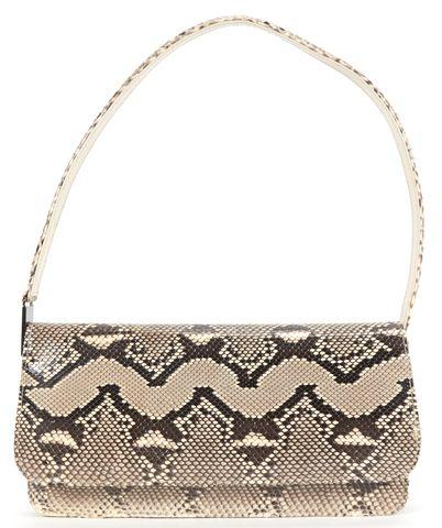 STUART WEITZMAN Beige Gray Snakeskin Shoulder Bag