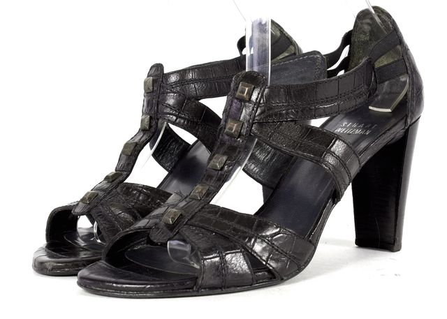 STUART WEITZMAN Black Croc Embossed Studded Leather Sandal