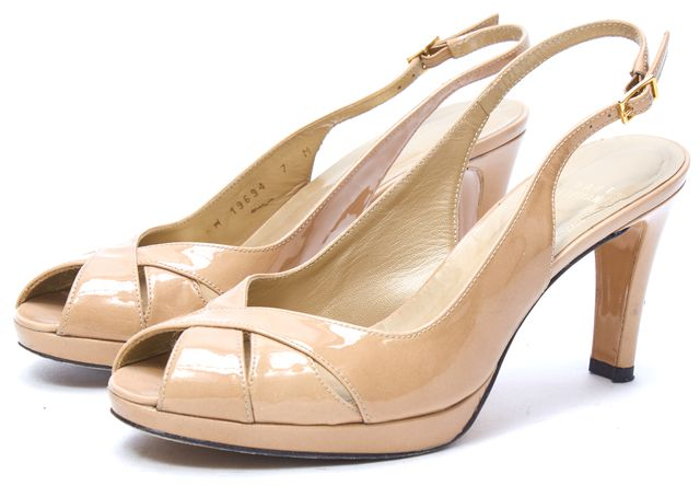 STUART WEITZMAN Nude Patent Leather Open Toe Slingback