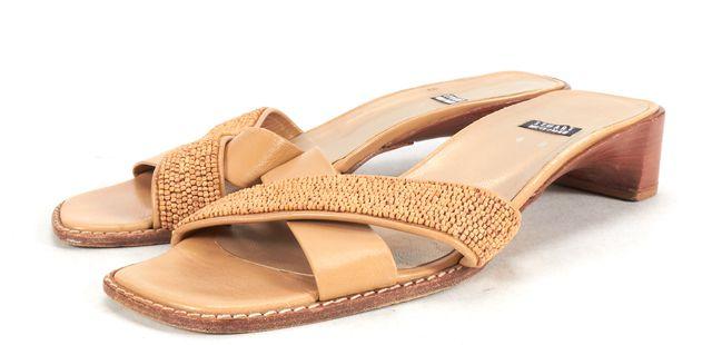 STUART WEITZMAN Beige Tan Leather Beaded Wooden Heel Sandal