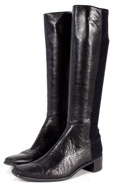STUART WEITZMAN Black Leather Elastic Mid Calf Tall Boots