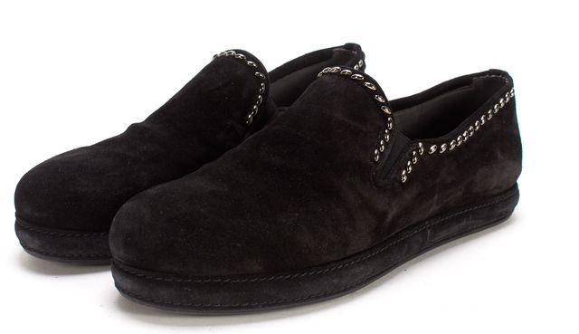 STUART WEITZMAN Black Suede Silver Stud Loafer Flats