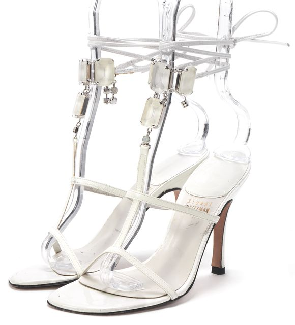 STUART WEITZMAN White Patent Leather Jewel Embellished Sandal