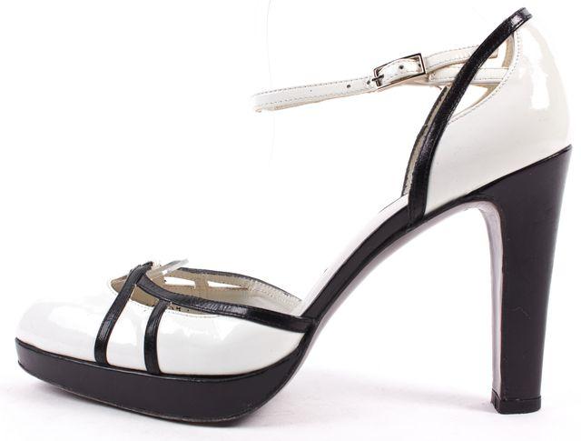 STUART WEITZMAN White Patent Leather Contrast Black Leather Heels