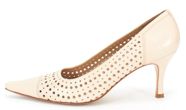 STUART WEITZMAN Beige Perforated Leather Pointed Toe Kitten Heels