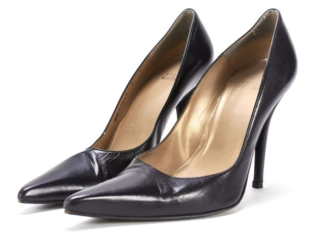STUART WEITZMAN Black Leather Pointed Toe Heels