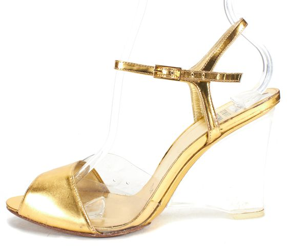 STUART WEITZMAN Gold Clear Leather Perspex Lucite Peep Toe Wedge Heel