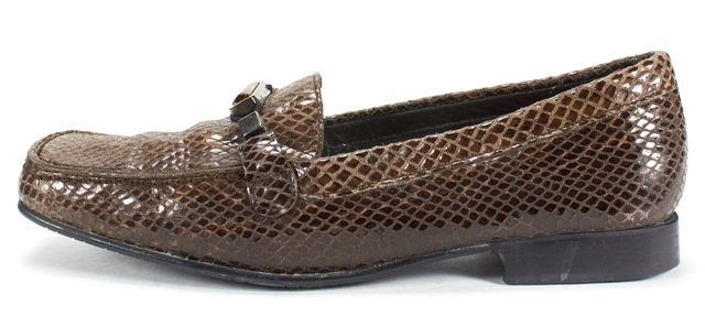 STUART WEITZMAN Brown Leather Snake Embossed Jewel Embellished Loafers