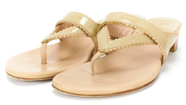 STUART WEITZMAN Nude Beige Patent Leather Thong Sandals