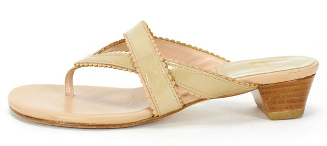 STUART WEITZMAN Nude Beige Patent Leather Thong Sandals
