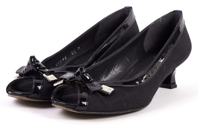 STUART WEITZMAN Black Canvas Patent Leather Bow Peep Toe Kitten Heel