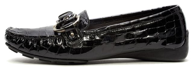 STUART WEITZMAN Black Patent Crock Embossed Leather Moccasin Loafers