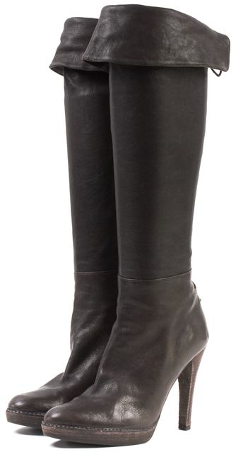 STUART WEITZMAN Brown Leather Lace-Up Knee High Boots