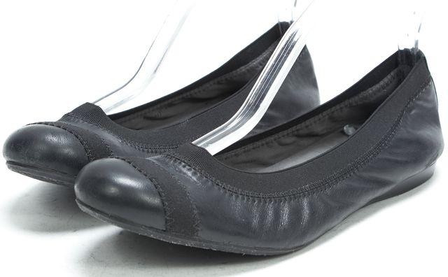 STUART WEITZMAN Black Leather Classic Elastic Ballet Flats
