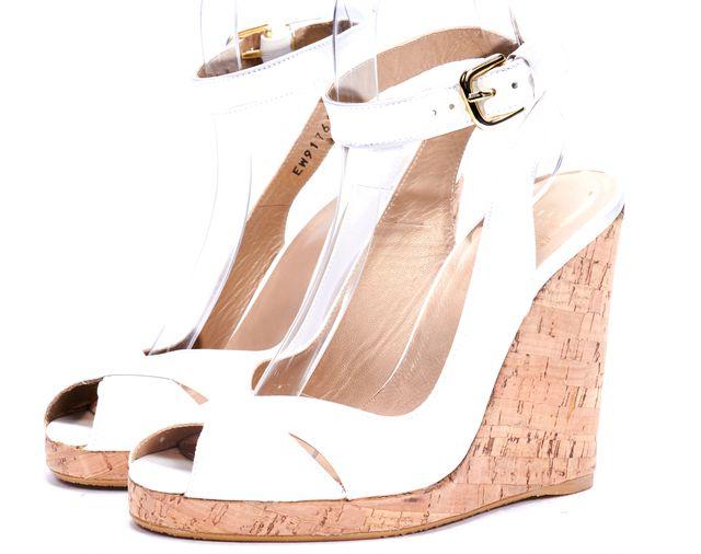 STUART WEITZMAN White Patent Leather Open Toe Slingback Wedges