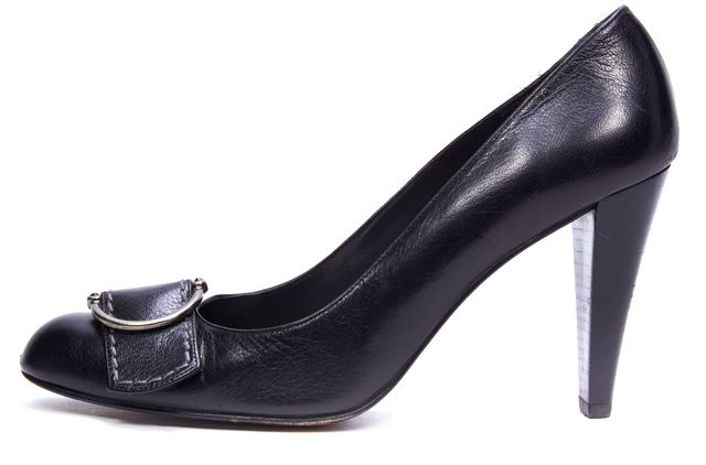 STUART WEITZMAN Black Casual Leather Round Toe Silver Buckle Heels