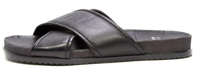 STUART WEITZMAN Black Leather Casual Criss Cross Strap Slip on Flat Sandals