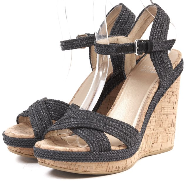 STUART WEITZMAN Navy Woven Leather Criss Cross Cork Platform Sandals