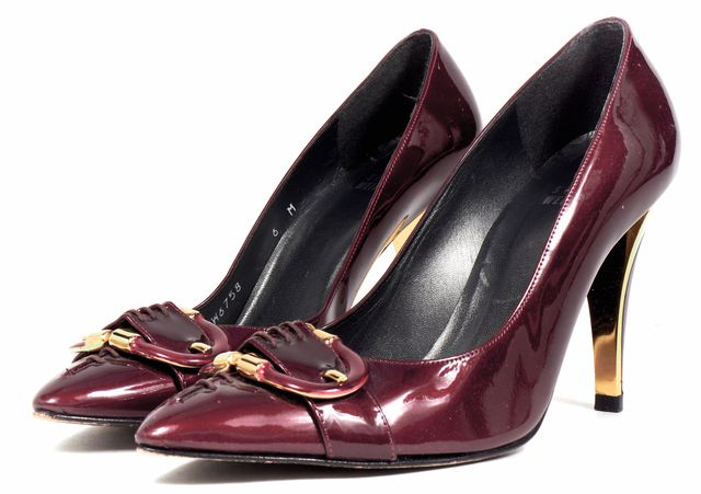 STUART WEITZMAN Burgundy Red Patent Leather Pointed Toe Pumps
