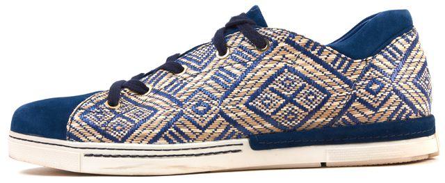 STUART WEITZMAN Blue Suede Leather Raffia Lace Up Sneakers