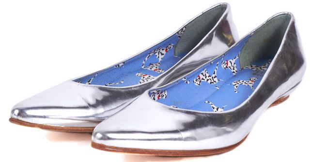 STUART WEITZMAN Silver Leather Pointed Toe Low Wedge Slipper Flats