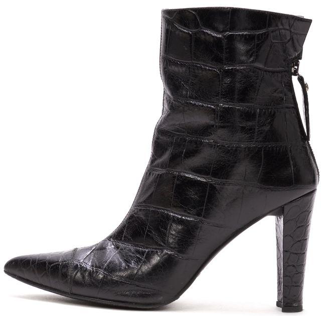 STUART WEITZMAN Black Croc Embossed Leather Pointed Toe Ankle Boots Heels