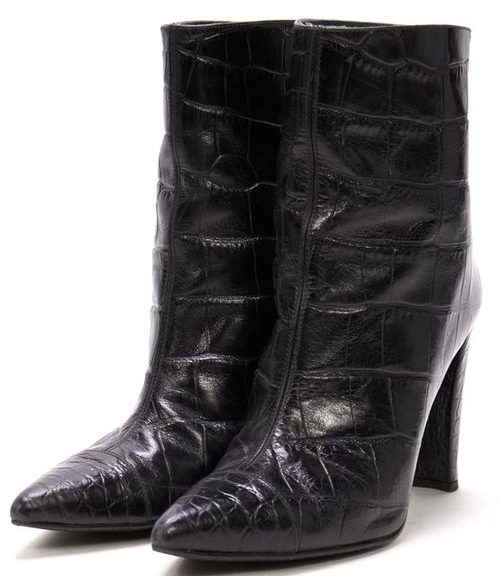 STUART WEITZMAN Black Croc Embossed Leather Pointed Toe Ankle Boots Heels