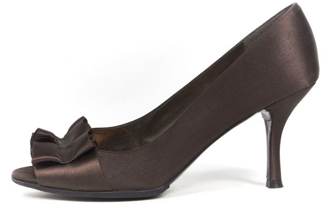 STUART WEITZMAN Brown Satin Open Toe Ruffled Detail Pump Heels