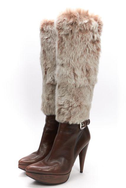STUART WEITZMAN Brown Leather Fur Knee High Platform Boots
