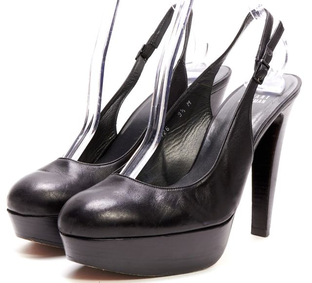 STUART WEITZMAN Black Leather Slingback