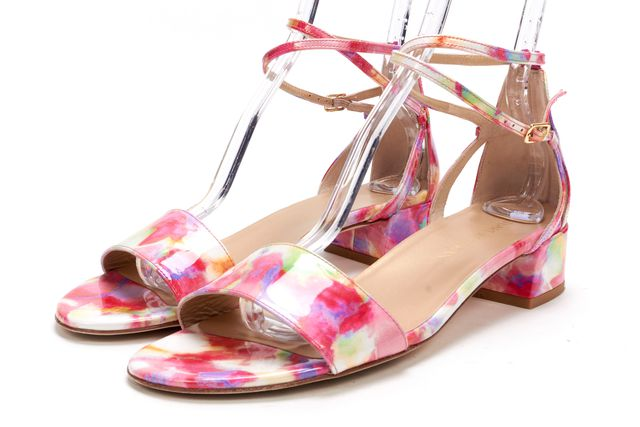 STUART WEITZMAN Pink Abstract Print Patent LeatherAnkle Strap Sandals