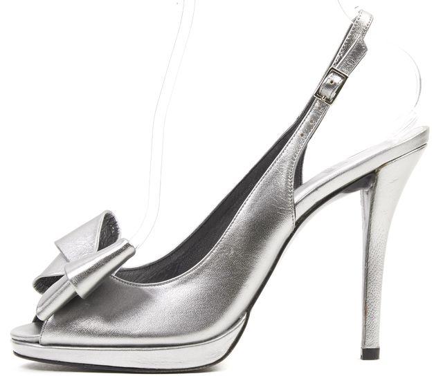 STUART WEITZMAN Silver Leather Bow Embellished Slingback Sandal Heels
