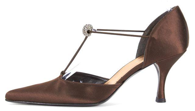 STUART WEITZMAN Brown Satin Crystal Embellished Pointed Toe Pumps