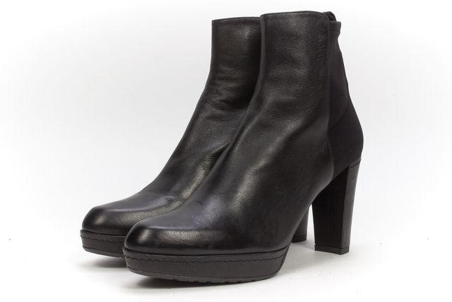 STUART WEITZMAN Black Leather Canvas Combo Casual Platform Ankle Boots