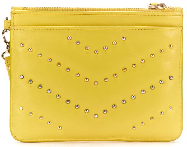 STUART WEITZMAN Yellow Silver Gold Studded Leather Wristlet Bag