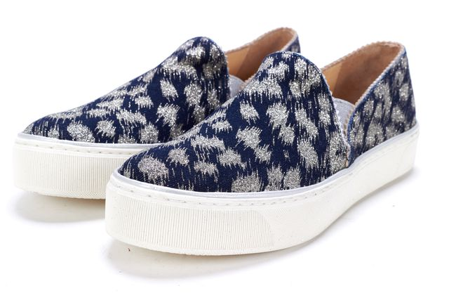 STUART WEITZMAN Blue And Sliver Slip-On Sneakers