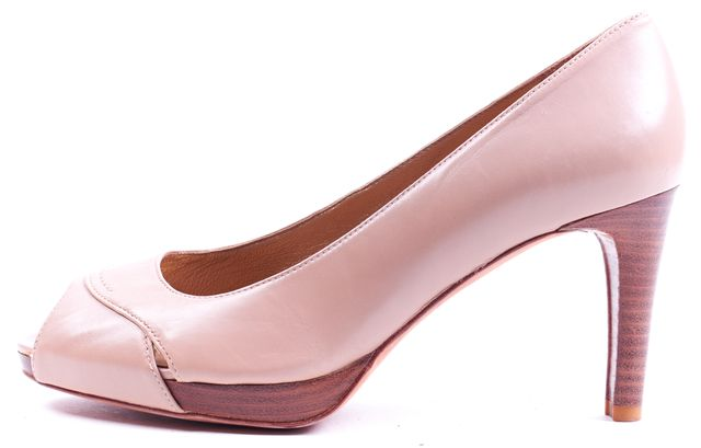 STUART WEITZMAN Beige Leather Peep-Toe Heels