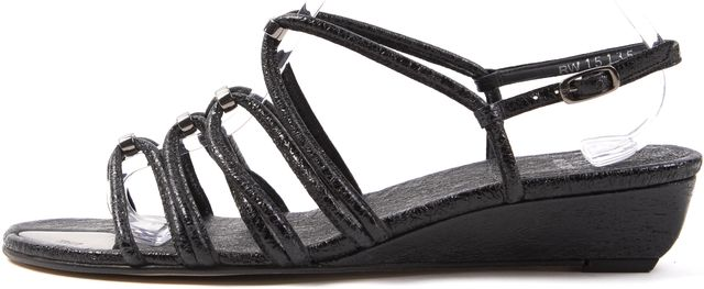 STUART WEITZMAN Black Leather Multi Strap Wedge Sandals