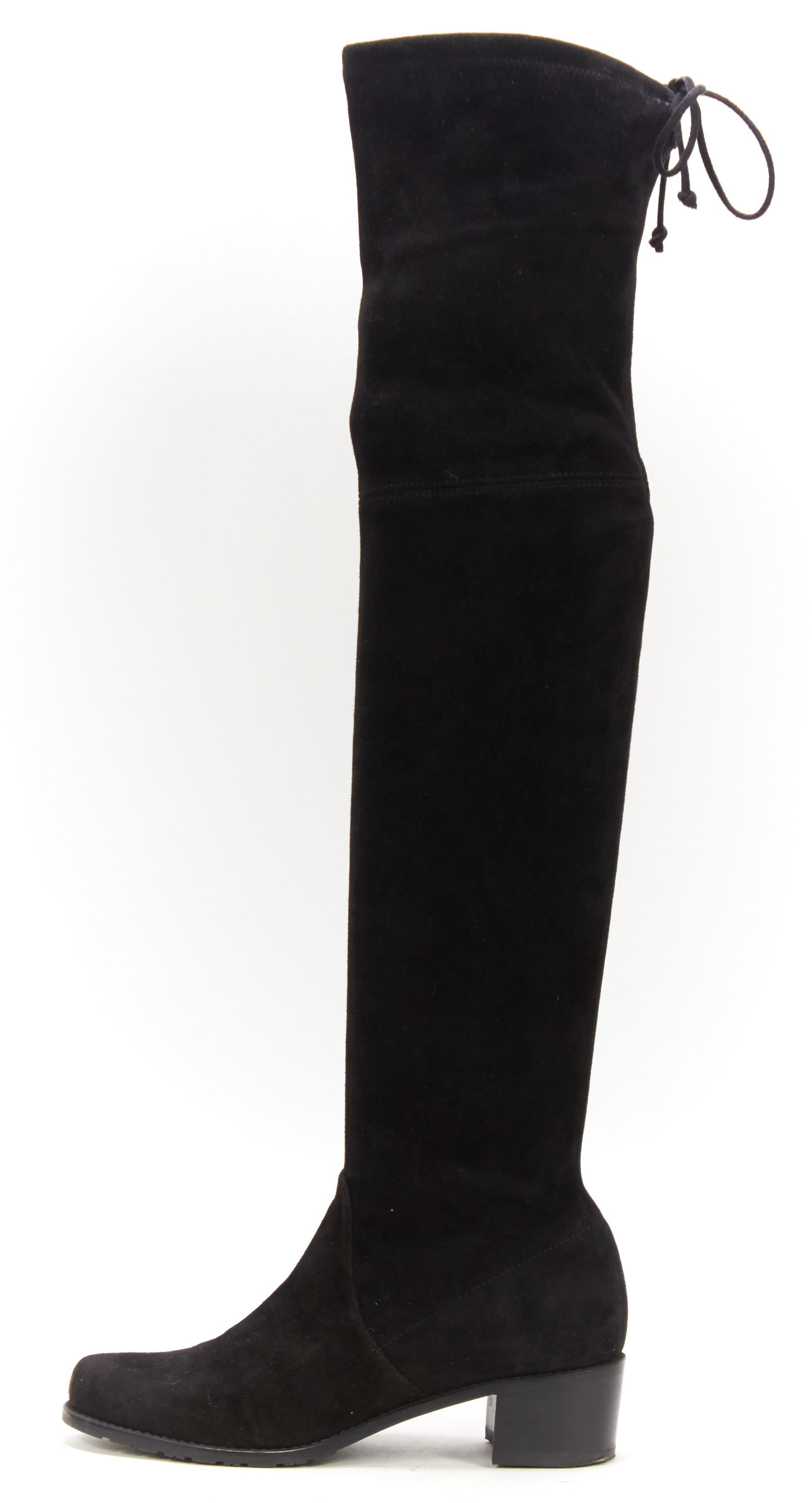 Stuart Weitzman Black Suede Leather Tall Over Knee Boots ...