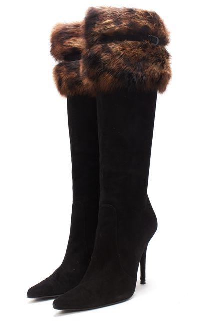 STUART WEITZMAN Black Suede Fur Trim Knee-high Boots